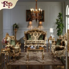 Classic Italian Furniture Living Room Layout With Fireplace In Corner Royal Gold Leaf Gilding Solid Wood Sofa Set