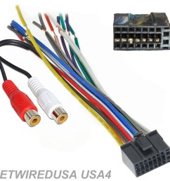dual car audio 16 pin stereo wire harness radio plug mail back clip rca [ 1500 x 1427 Pixel ]