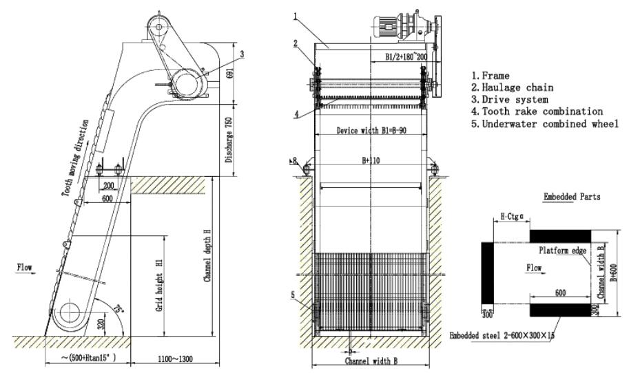 Waste Water Pump Station Intake Mechanical Rake Type