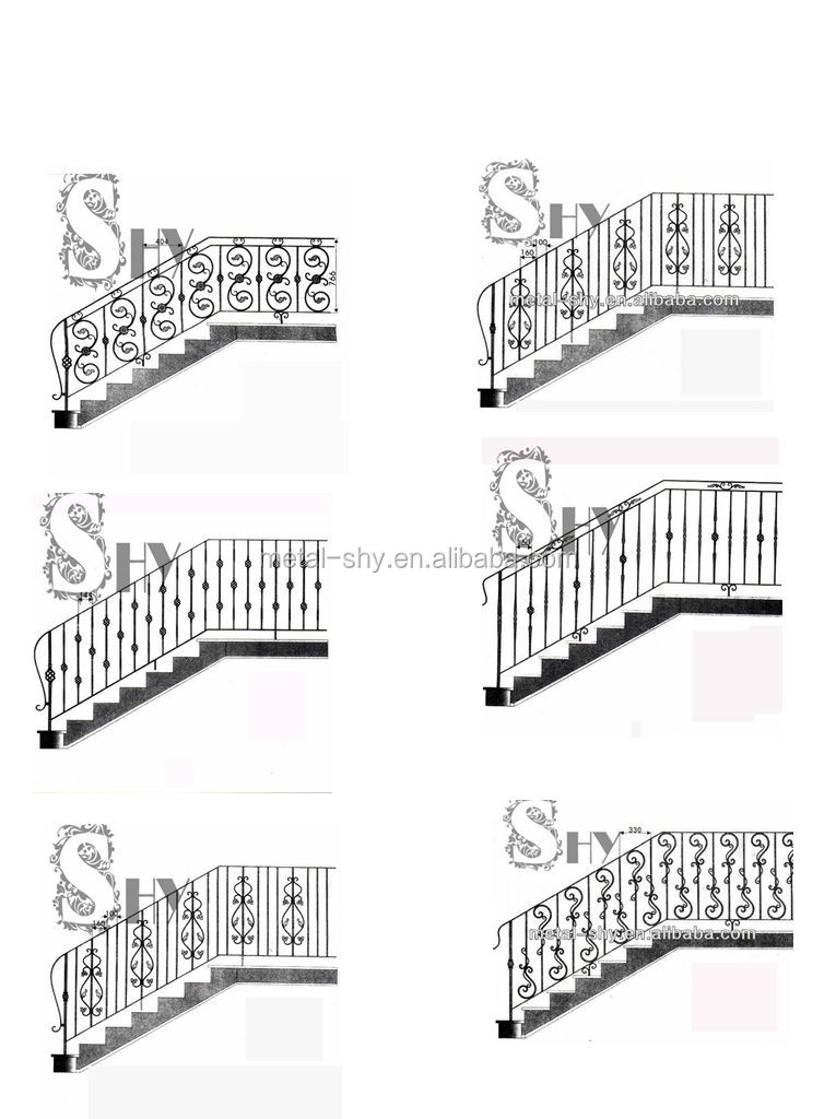 Classical Style Decorative Interior Wrought Iron Stair