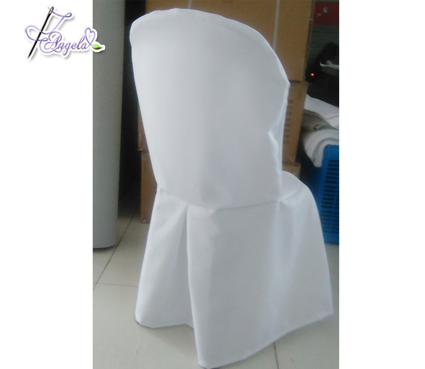 how to make easy chair covers for wedding bouncy ball work beach white basic polyester with side pleats plastic miami chairs in weddings buy