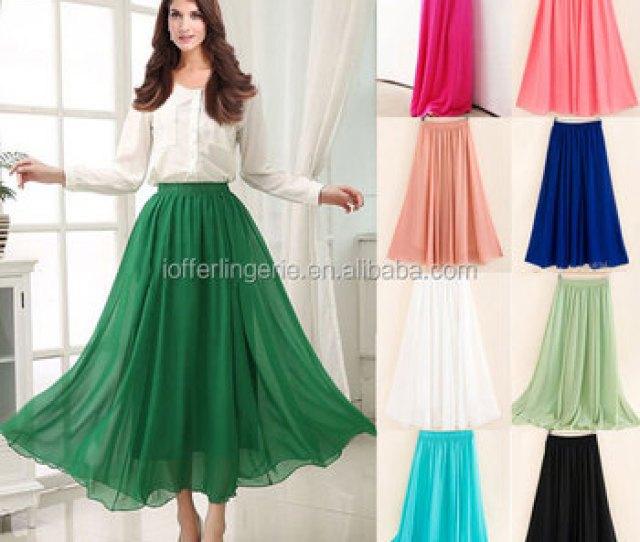 Hot Fashion Cheap  Colors Sexy Pleated Maxi Long Chiffon Skirt Buy Chiffon Maxi Skirtlong Chiffon Skirtchiffon Skirt Product On Alibaba Com