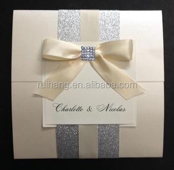 Ribbon And Rhinestone Pocket Square Fold Wedding Invitation Card Bengali