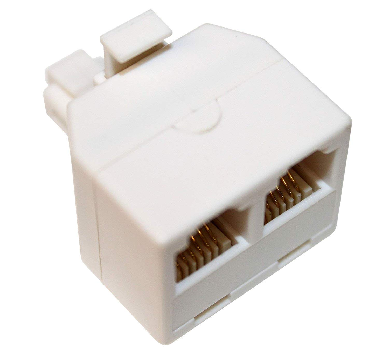 hight resolution of get quotations rocketbus rj11 plug 1 to 2 dual phone line splitter wall jack split into two modular