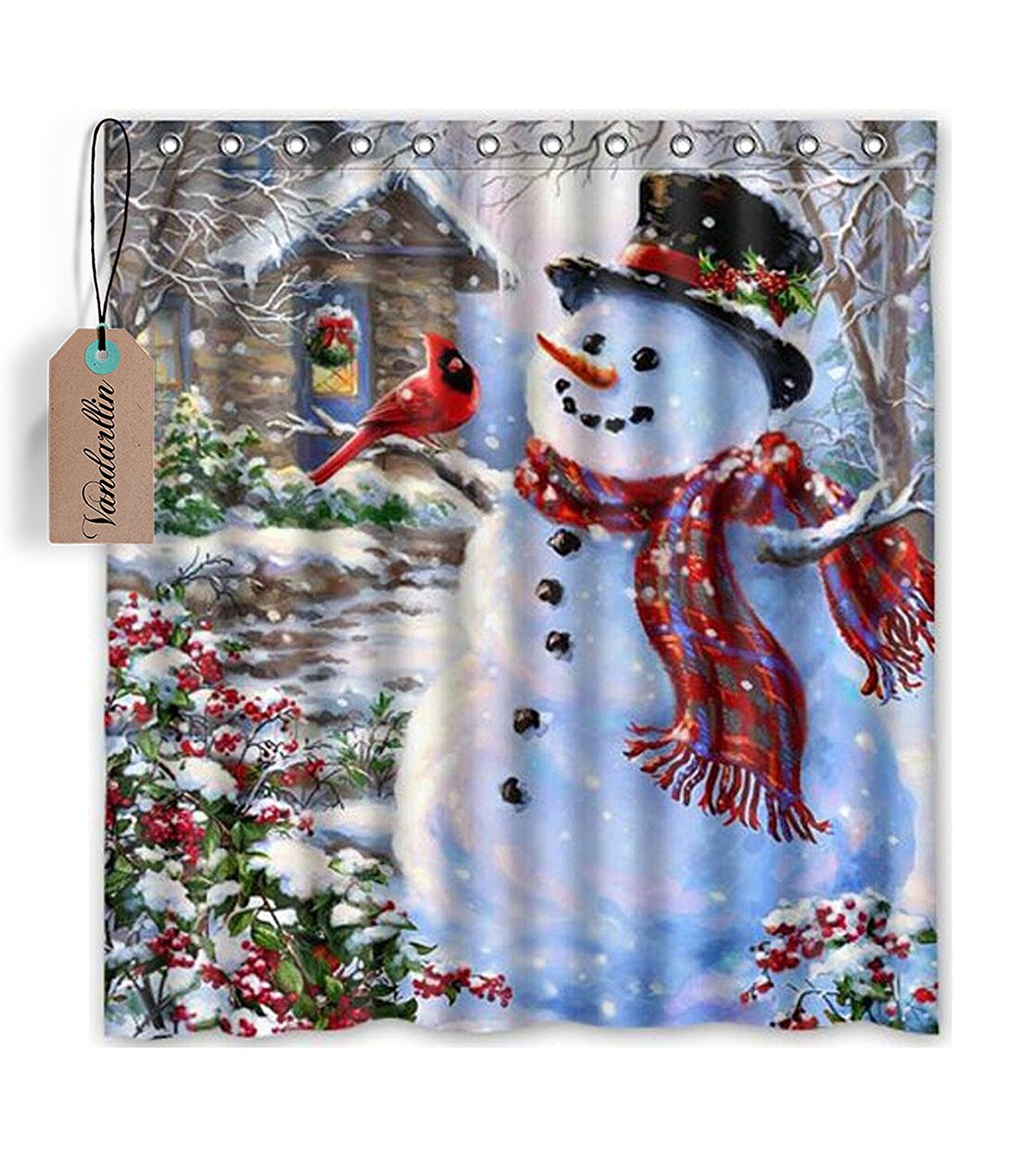 Buy Snowman Christmas Holiday Winter Fabric Shower Curtain