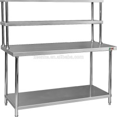Metal Kitchen Shelf Stainless Steel Sinks Assembly 2 Tier Work Table Worktable With Top Shelves For Canteen Buy Board Dining