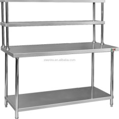 Steel Kitchen Table White Sink With Drainboard Assembly 2 Tier Work Stainless Worktable Top Shelves For Canteen
