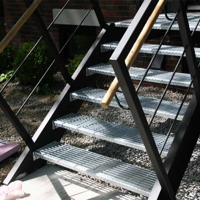 Industrial Exterior Stair Stringers Fast Stairs Prefab Exterior | Prefabricated Exterior Metal Stairs | Stair Case | Stairways | Aluminum | Wrought Iron | Stair Treads
