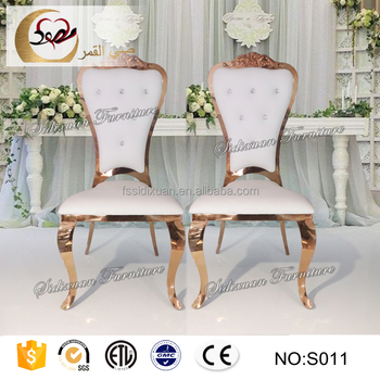 steel chair gold yellow covers for sale royal antique rose stainless chairs wedding reception