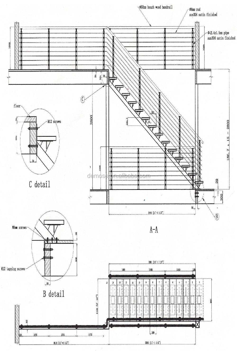 Metal Banister Spindles / Stainless Steel Staircase