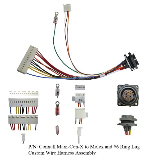 small resolution of conxall maxi con x to molex and 6 ring lug custom wire harness assembly