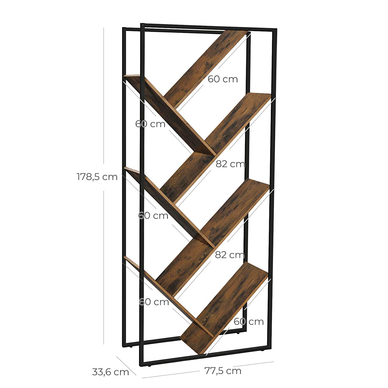 Vasagle Design Home Furniture Vintage Antique Industrial Bookcase Ladder Wood Book Shelf For Living Room Buy Bookcase With Ladder Bookshelf Display
