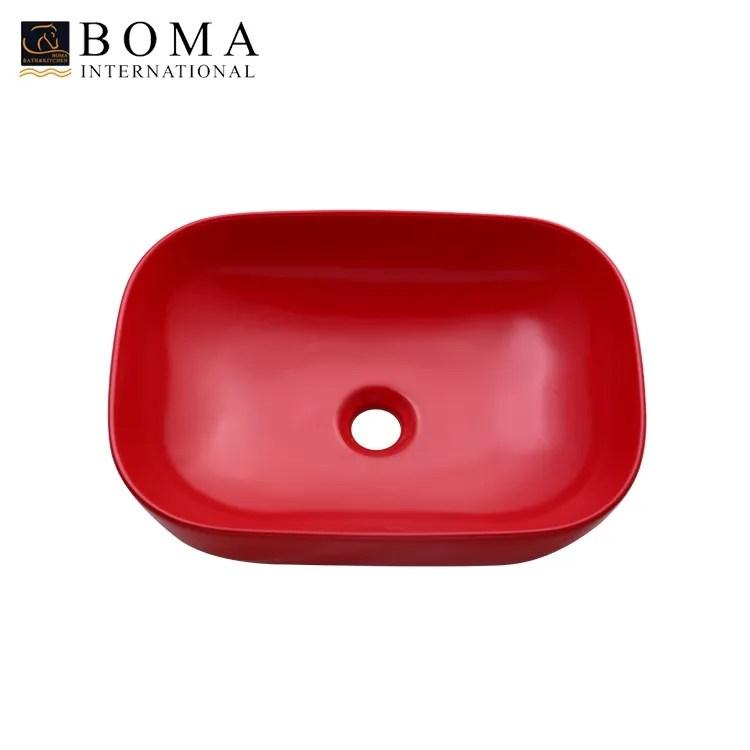 rectangular porcelain above counter matte red vessel bowl sink buy vessel sink supplier vessel sink ceramic vessel sink countertop sale product on