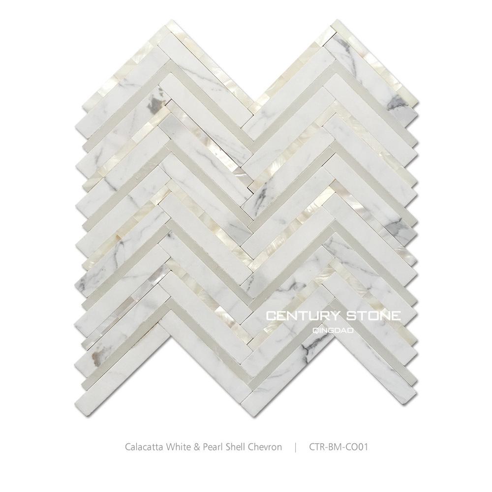 herringbone calacatta white marble mix mother of pearl shell mosaic tile buy shell mosaic shell moaic tile mother of pearl shell mosaic tile product