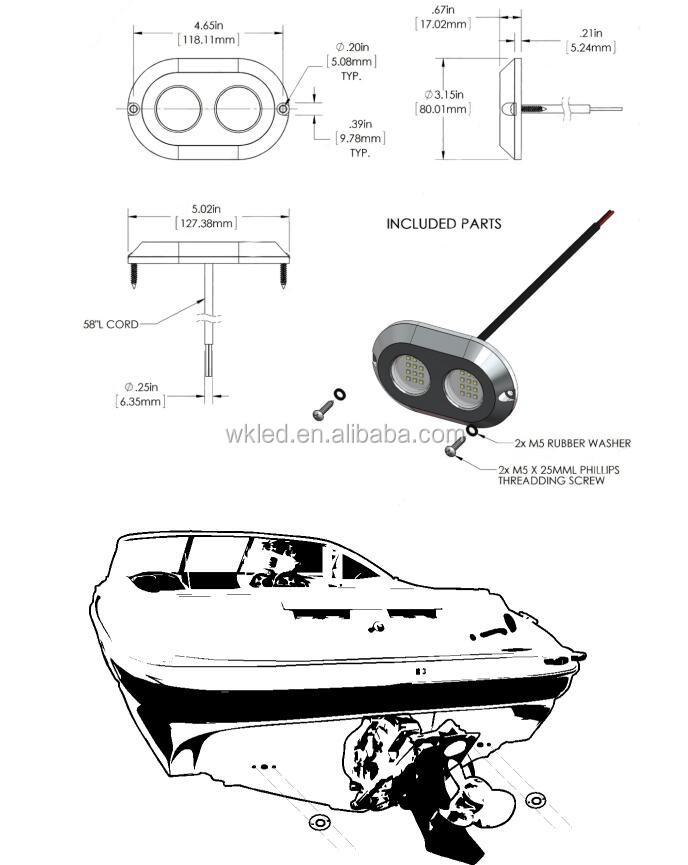 Weiken 120w Boat Navigation Marine Yacht Swimming Pool