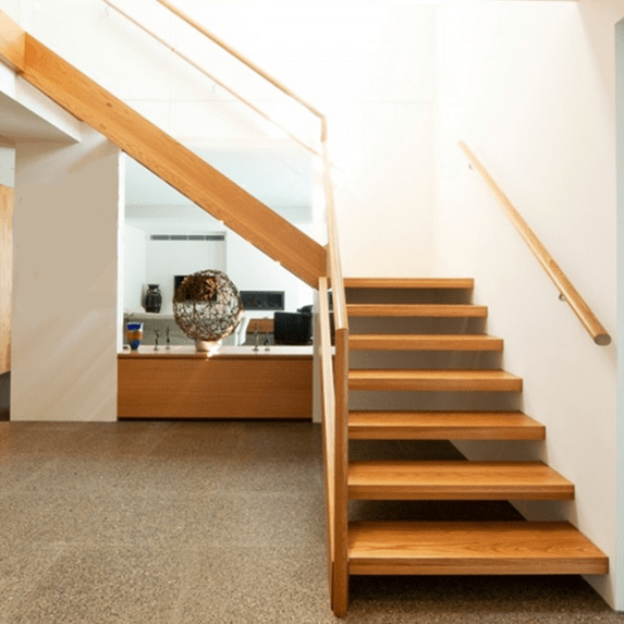 Brazilian Cherry Wood Tread Handrail Stairs Tempered Glass   Brazilian Cherry Stair Treads   Box   Walnut   Mahogany   Stained   Finished
