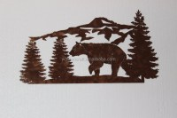 Antique Bear And Mountain Pine Tree Scene Large Metal Wall
