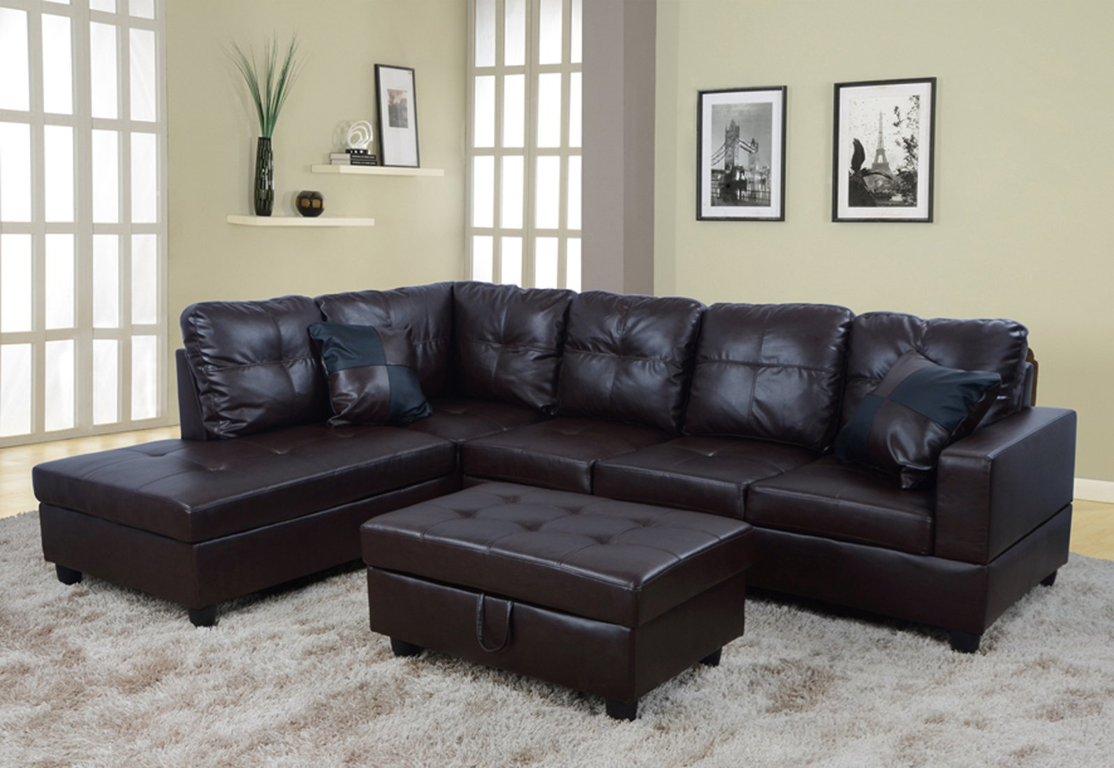 chocolate brown leather sectional sofa with 2 storage ottomans restoration hardware chesterfield for sale cheap 3 piece find get quotations lifestyle faux left facing set ottoman