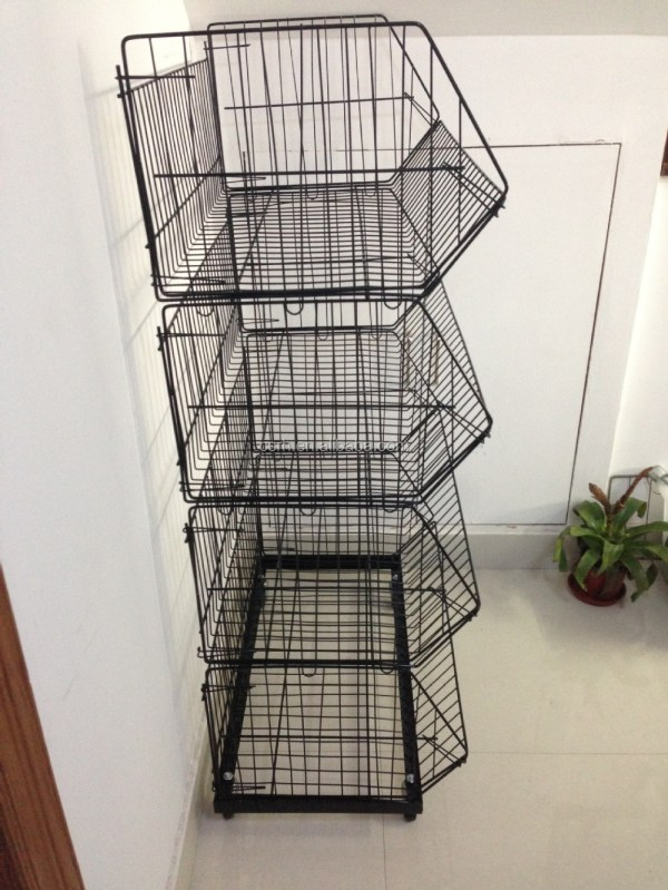 Supplier Of Rh-br02 Stackable Wire Basket Rack With Wheels