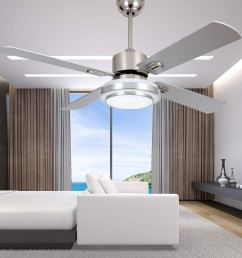 get quotations rainierlight modern stainless steel ceiling fan lamp remote control 3 speed led 3 color [ 1000 x 1000 Pixel ]
