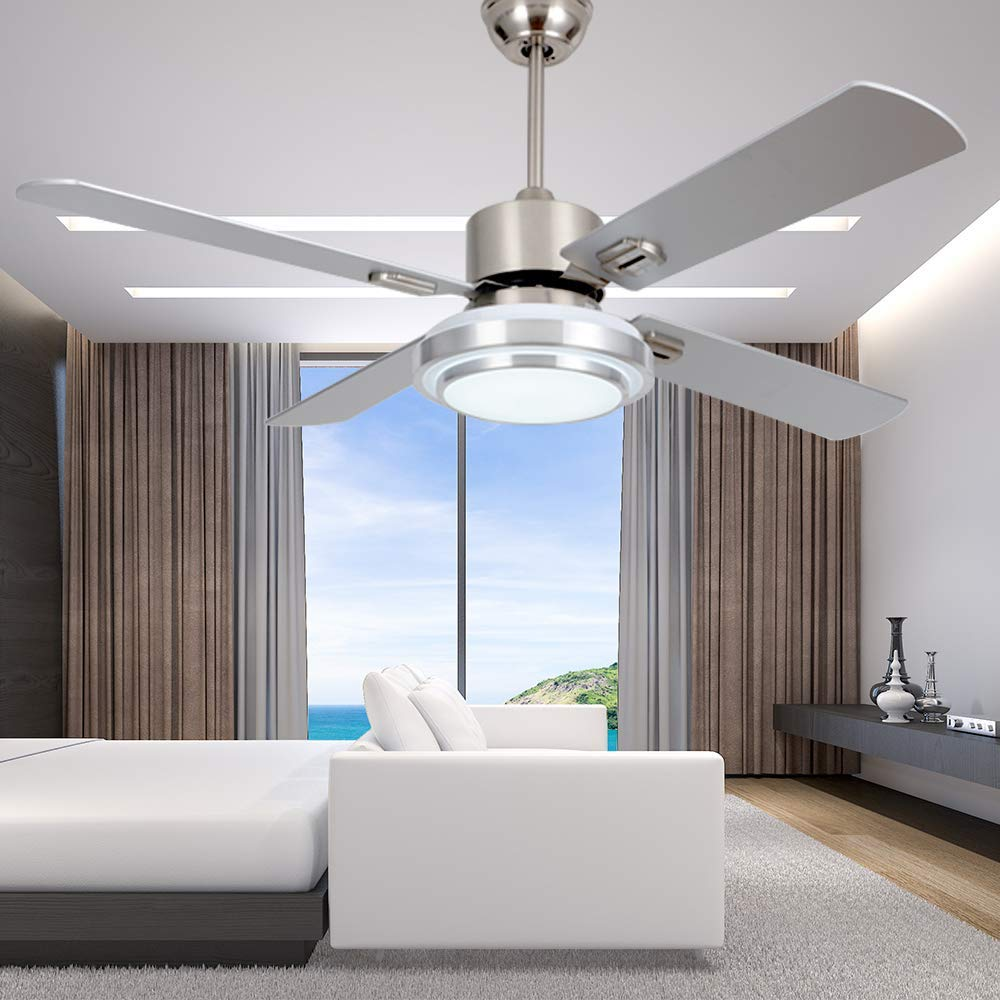 medium resolution of get quotations rainierlight modern stainless steel ceiling fan lamp remote control 3 speed led 3 color