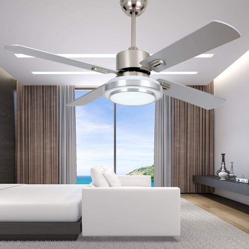 small resolution of get quotations rainierlight modern stainless steel ceiling fan lamp remote control 3 speed led 3 color