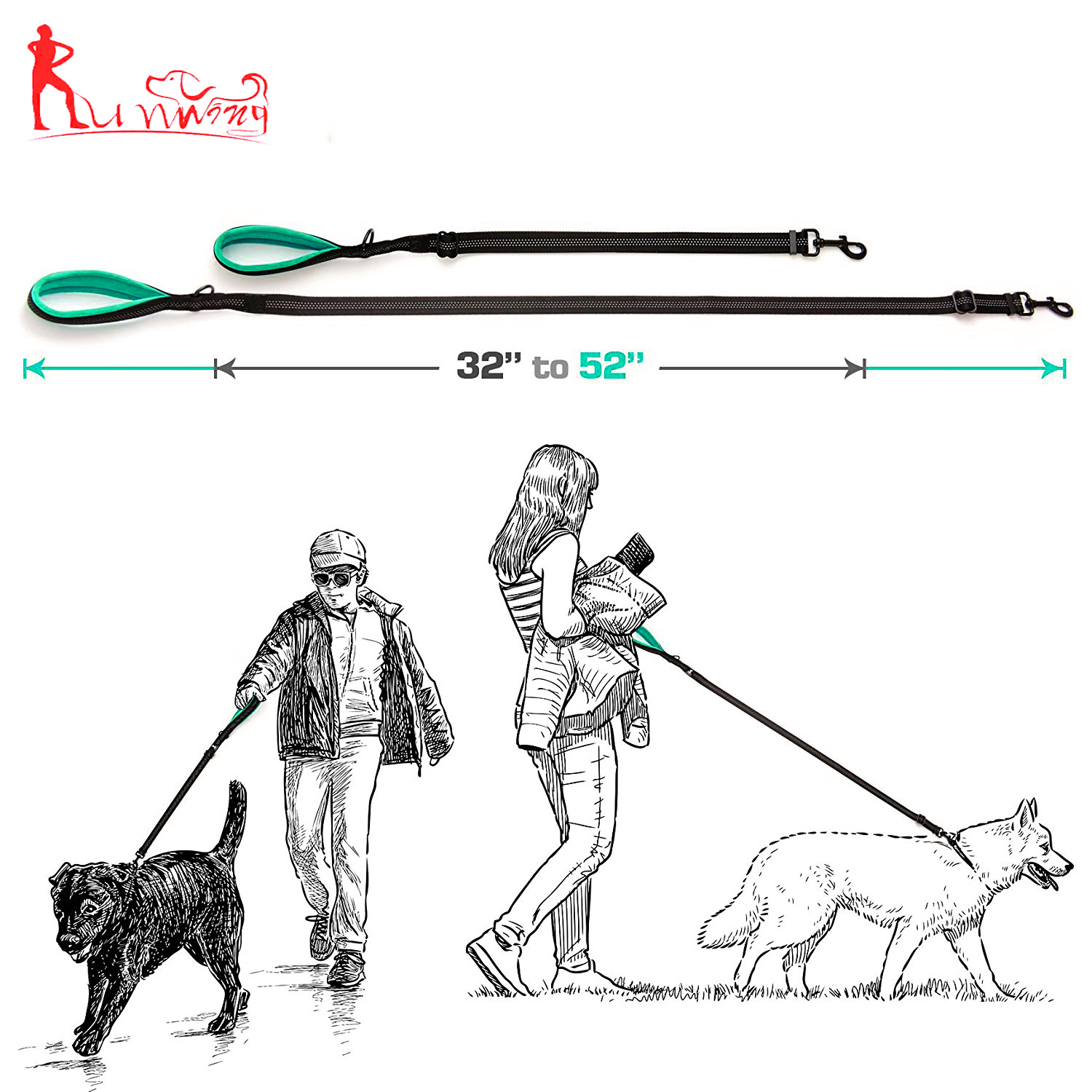 Retractable Shock Absorbing Dual Handle Dog Leash