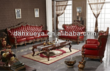 red living room sets crown molding in danxueya fully genuine leather sofa royal king queen style furniture