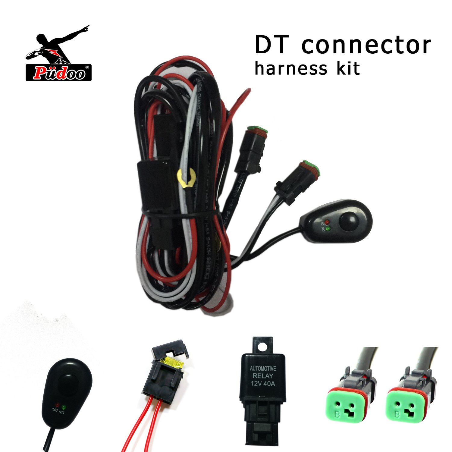 hight resolution of pudoo deutsch wiring harness kit 12v 40amp fuse relay on off switch for driving light