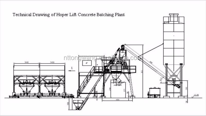 Hzs50 New Condition Stationary Concrete Batching Plant