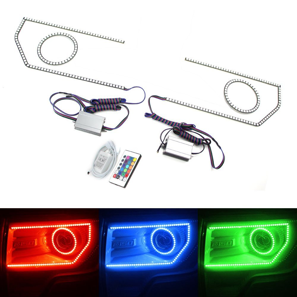 hight resolution of get quotations ijdmtoy 132 led rgb multi color led angel eyes halo rings remote control