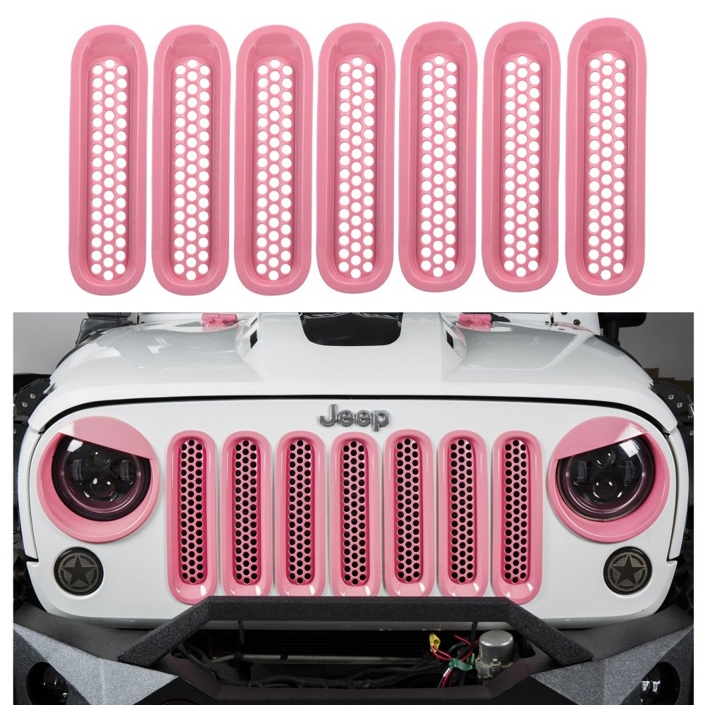 medium resolution of u box jeep wrangler pink front grille insert mesh inserts for 2007 2015 jeep
