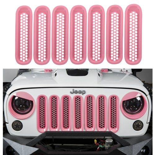 small resolution of u box jeep wrangler pink front grille insert mesh inserts for 2007 2015 jeep