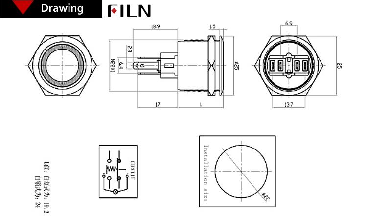 22mm Diameter Stainless Steel Anti Vanda Ring Blue 120v
