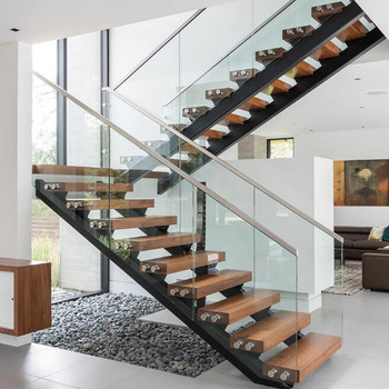Modern Style Double Stringer Solid Wood Open Riser Stairs
