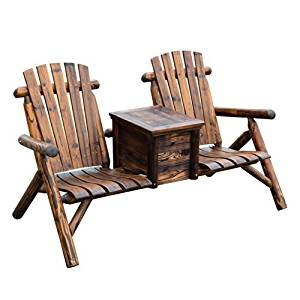 ice fishing lawn chair wheel ramps cheap bucket seat find deals on get quotations outsunny wooden outdoor two adirondack patio w rustic brown