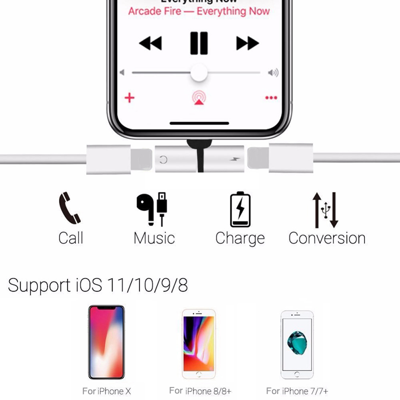 Audio Charging Dual Adapter Splitter Cable Earphone Aux