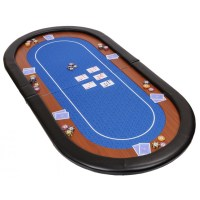 72 Inch Oval Folding Poker Table Top In Blue Speed Cloth ...