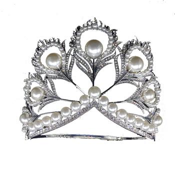 Miss Universe Crown Full Round Crown Pearl Peacock Tiara