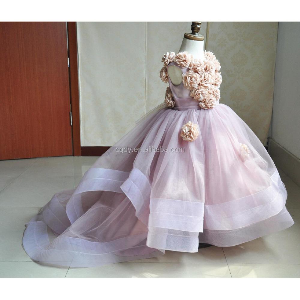 Short Front Long Back Luxurious Gorgeous Flower Girl Dress For Wedding Festa Dress Kids Prom