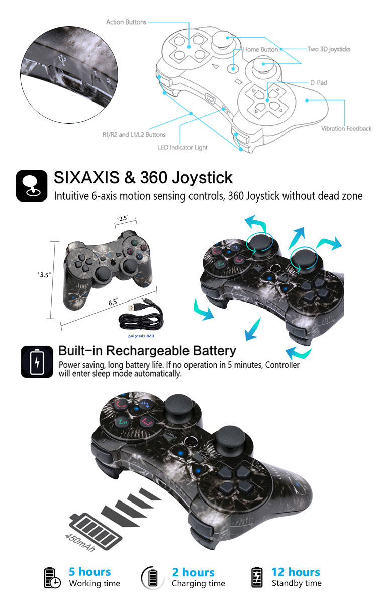 Ishako Double Shock Wireless Ps3 Game Controller For Ps2