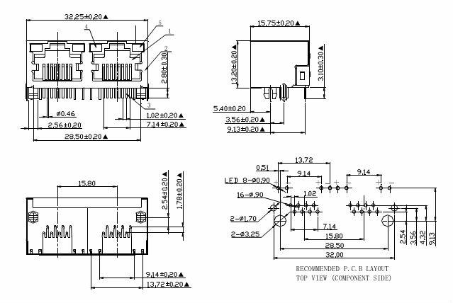 1*2 Port,6p6c/6p4c/6p2c Modular Rj11 Jack,With Ears On