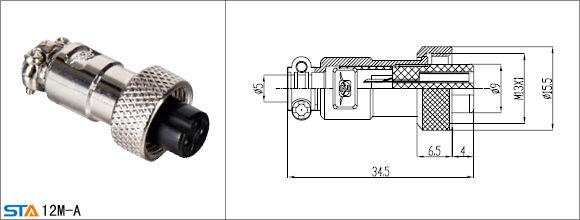 Mini 12m Socket Connector Female Male 3 4 5 Pin Ul Ce Rohs