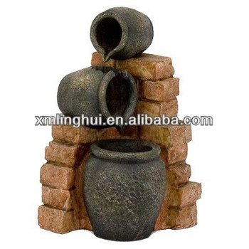 Wood Style 3 Tiered Resin Garden Fountain Water Fountain Home