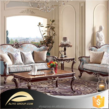 italian classic furniture living room setup with sectional wooden carved style luxury sofa sets