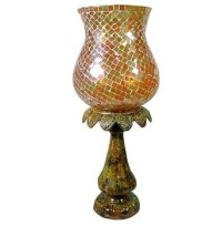 Yellow Color Mosaic Hurricane Lamp