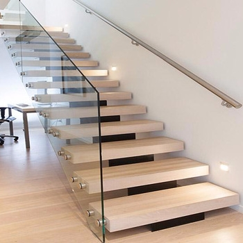 Modern Mono Stringer Glass Staircase Wooden Staircase Tempered   Modern Staircase Glass Railing Designs   Wooden Modern Staircase Glass Railing Designs