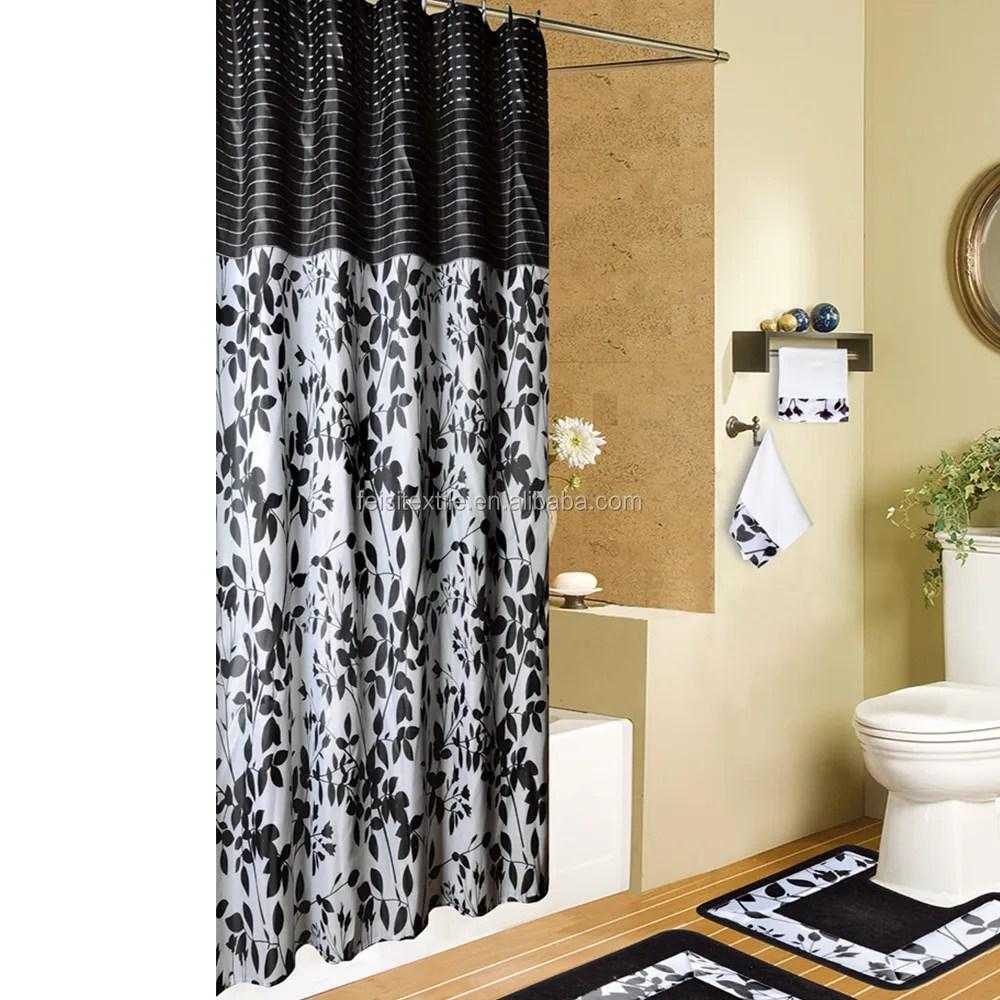 black white plant leaf leaves horizontal stripe top shower curtain for round rod buy leaf shower curtain horiztontal stripe round shower curtain rod