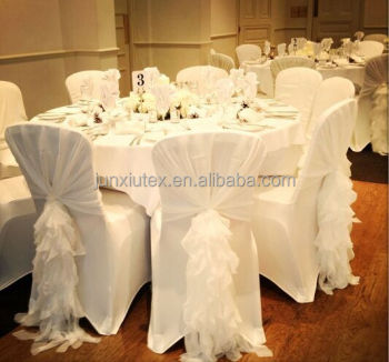 wedding chair sash plastic office mat new design chiffon ruffled cover with hood chiavari sashes