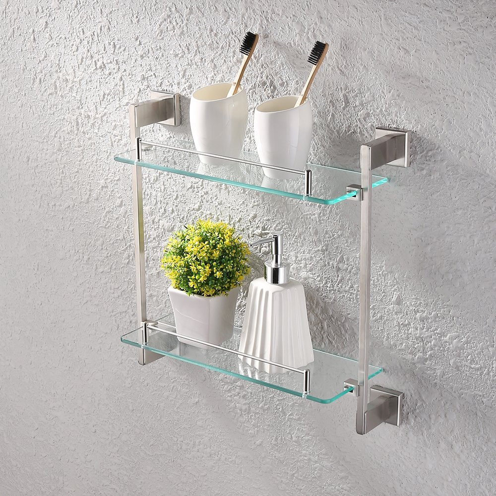 Glass Shelves Bathroom Bathroom Glass Shelf 2 Tier Shower Caddy Bath Basket Stainless Steel Rustproof Wall Mount Brushed Finish Buy Shower Caddy Bath Basket Stainless